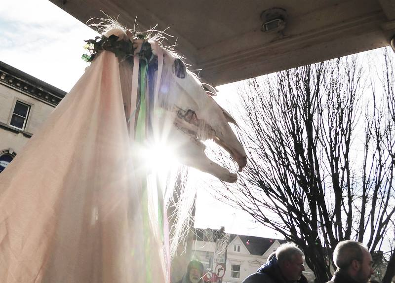 The Mari Lwyd looked dramatic in the winter sunshine. (Photo (c) Deborah Roberts)