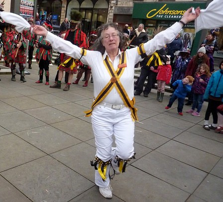 Open Morris Chairwoman Nicki Pickering was a VIP visitor, and enjoyed a solo spot outside the Sub Rooms. (Photo (c) Mike Finn)