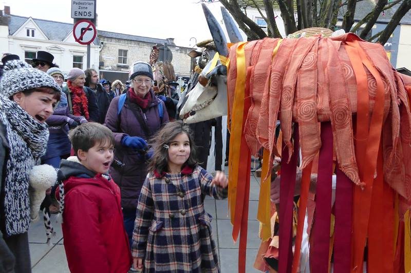A visiting Mari Lwyd was very popular with the kids. (Photo (c) Deborah Roberts)