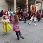 Children always warm to the magic of the Wassail. These little girls are certainly getting into the spirit of the dance. (Photo (c) Deborah Roberts)