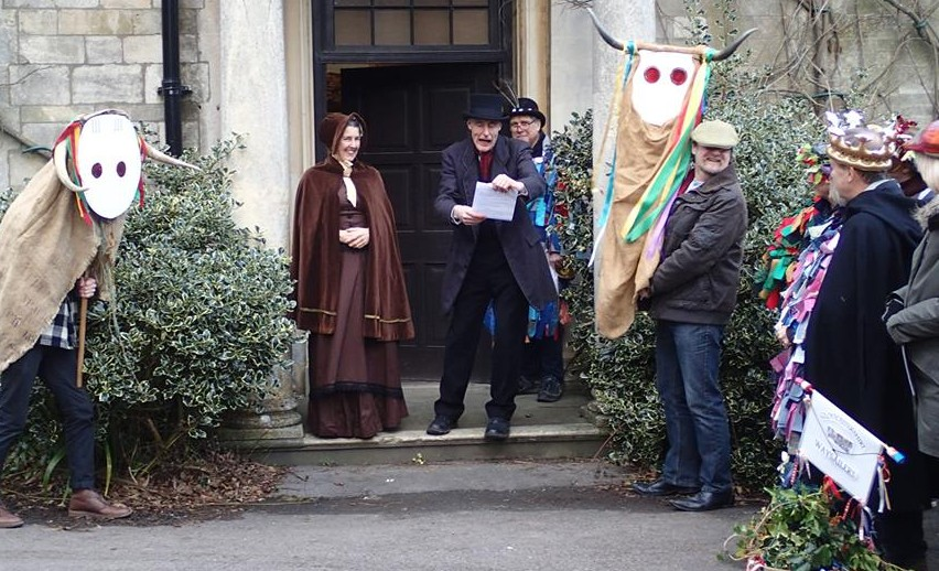 Then in the afternoon, we gathered to wassail at the museum. The master and mistress of the house (aka Stroud's Museum in the Park) read the riot act to the peasants. (Photo (c) Ann Taylor)